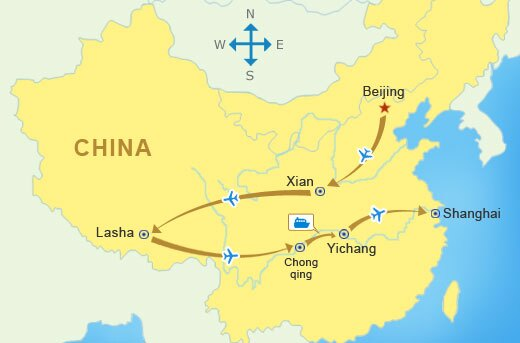 Reise Route - China Rundreisen mit Tibet