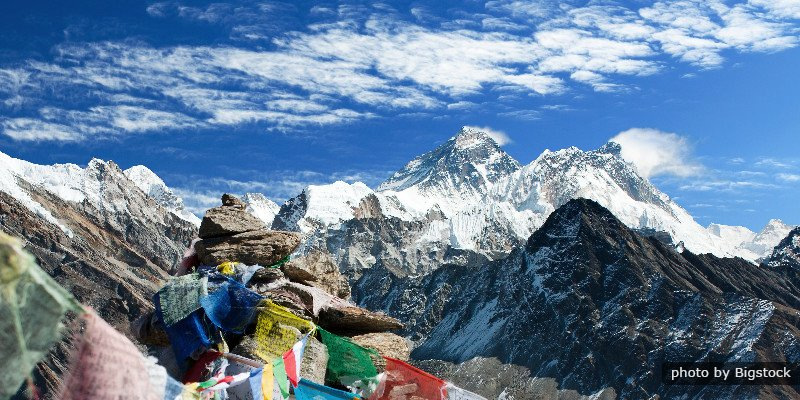 View Of Everest From Gokyo Ri With Prayer Flags -